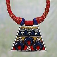 Ceramic pendant necklace, 'Tribal Delight' - Colorful Ceramic and Cotton Pendant Necklace from India