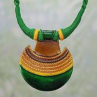 Ceramic pendant necklace, 'Kutch Evening' - Ceramic and Cotton Pendant Necklace in Green from India