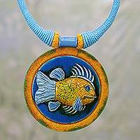 Ceramic pendant necklace, 'Blue Angler' - Ceramic and Cotton Fish Pendant Necklace in Blue from India