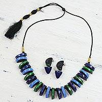 Ceramic jewelry set, 'Half-Moon Harmony' - Handmade Ceramic Half-Moon Necklace and Earrings from India