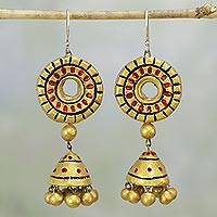 Ceramic dangle earrings, 'Golden Shrine' - Handcrafted Gold-Tone Ceramic Dangle Earrings from India
