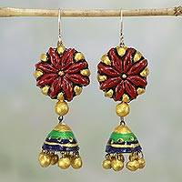 Ceramic dangle earrings, 'Floral Jhumki' - Ceramic Floral Dangle Earrings from India