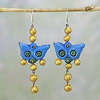 Ceramic dangle earrings, 'Hello, Butterfly' - Ceramic Blue Butterfly Earrings with Gold Orbs from India