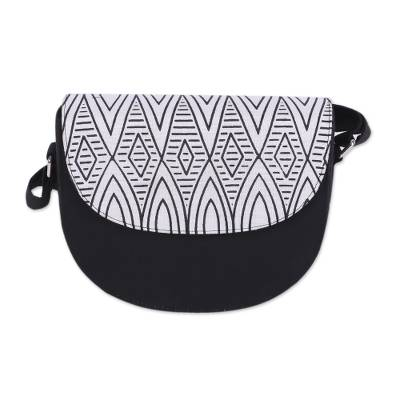 Black and Ivory Shoulder or Sling Bag from India