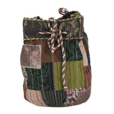 Cotton Patchwork Drawstring Shoulder Bag from India