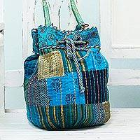 Cotton shoulder bag, 'Patchwork Pleasure' - Patchwork Cotton Drawstring Shoulder Bag from India