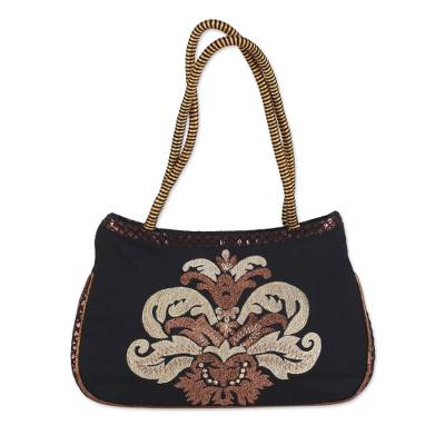 Black Shoulder Bag with Embroidered Zari Motif from India