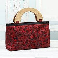 Embroidered evening handbag, 'Wine and Roses' - Evening Handbag Embroidered with Roses from India