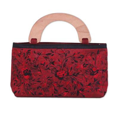 Evening Handbag Embroidered with Roses from India