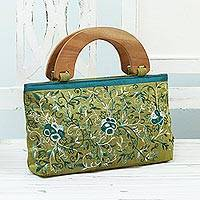 Cotton embroidered handle handbag, 'Rose Glamor' - Cotton Handle Handbag with Floral Embroidery from India