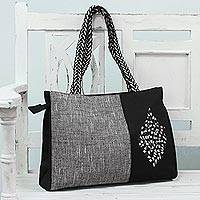 Embroidered tote handbag, 'Bold Harmony' - Black and White Cotton Tote Handbag from India