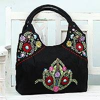 Jute blend handbag, 'Garden of Delight' - Black Jute Blend Handle Handbag with Floral Pattern