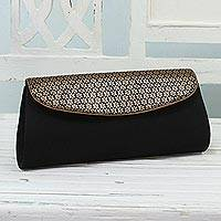 Clutch evening bag, 'Midnight Zeal' - Black Clutch Handbag with Floral Pattern from India