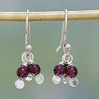 Garnet dangle earrings, 'Orb Clusters' - Garnet and Sterling Silver Dangle Earrings from India