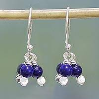 Lapis lazuli dangle earrings, 'Orb Clusters' - Lapis Lazuli and Sterling Silver Dangle Earrings from India