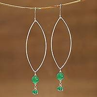 Onyx dangle earrings, 'Sleek Green' - Onyx and Sterling Silver Dangle Earrings from India