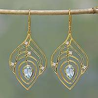 Gold plated blue topaz dangle earrings, 'Golden Veins' - Gold Plated Blue Topaz Dangle Earrings from India