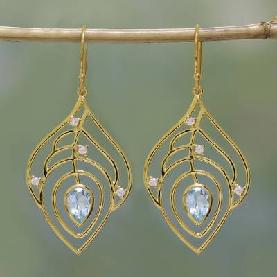 Gold plated blue topaz dangle earrings, Golden Veins
