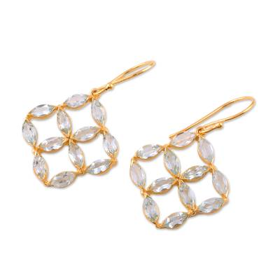 Gold Plated Blue Topaz Dangle Earrings from India