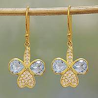 Gold plated blue topaz dangle earrings, 'Butterfly Glitter' - Gold Plated Blue Topaz Butterfly Dangle Earrings from India