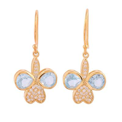 Gold Plated Blue Topaz Butterfly Dangle Earrings from India
