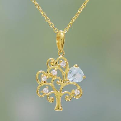 Gold plated blue topaz pendant necklace, 'Golden Tree' - Gold Plated Blue Topaz Tree Pendant Necklace from India