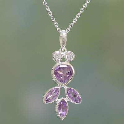 Amethyst pendant necklace, 'Lilac Glitter' - Amethyst and Sterling Silver Pendant Necklace from India