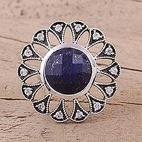 Lapis lazuli cocktail ring, 'Glistening Blossom' - Lapis Lazuli and Sterling Silver Cocktail Ring from India