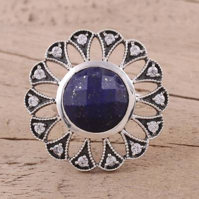 Lapis Lazuli and Sterling Silver Cocktail Ring from India