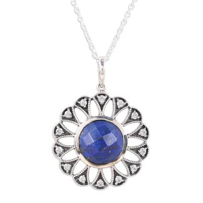Lapis Lazuli and Cubic Zirconia Flower Pendant Necklace