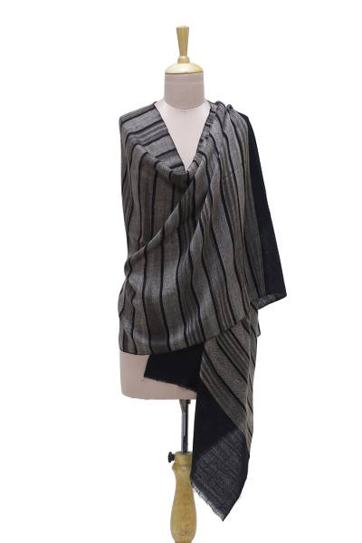 Cashmere shawl, 'Kashmir Stripes' - Handwoven Striped Pashmina Cashmere Wool Shawl from India