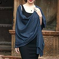 Cashmere shawl, 'Kashmir Slate' - Handwoven Slate Grey Pashmina Cashmere Wool Shawl from India