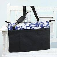 Leather and cotton laptop bag, 'Cosmic Night' - Black and Blue Leather and Cotton Laptop Bag from India