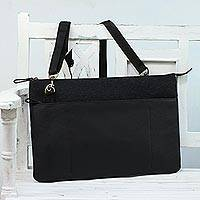 Wool and leather laptop bag, 'Classic Night' - Black Leather and Wool Laptop Bag from India