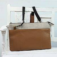 Wool and leather laptop bag, 'Everyday Style' - Wool and Leather Laptop Bag from India