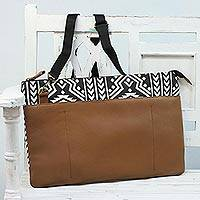 Cotton and leather laptop bag, 'Geometric Style' - Black and White Cotton and Leather Laptop Bag from India