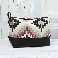 Cotton and leather accent cosmetic bag, 'Abstract Beauty' - Cotton and Leather Accent Geometric Cosmetic Bag from India