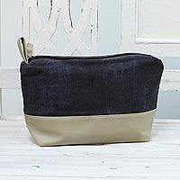 Cotton and leather accent cosmetic bag, 'Simple Elegance' - Cotton and Leather Accent Cosmetic Bag from India