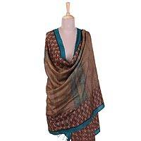 Silk shawl, 'Delightful Design' - Handwoven Printed Silk Shawl with Striped Designs from India