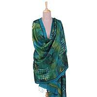 Silk shawl, 'Direction of the Earth' - Handwoven Fringed Silk Shawl in Blue and Green from India