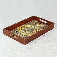 Decoupage wood tray, 'Majestic Krishna' - Handmade Decoupage Tray with Elephant and Krishna from India