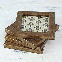 Wood and glass coasters, 'Floral Relaxation in Ivory' (set of 4) - Four Handcrafted Glass Coasters in Ivory from India