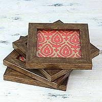 Wood and glass coasters, 'Pressed Flowers' (set of 4) - Handprinted Red Tulip Design Wood and Glass Coaster Set of 4