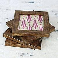 Wood and glass coasters, 'Fuchsia Forest' (set of 4) - Four Glass Coasters with Pink Tree Motifs from India