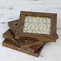Wood and glass coasters, 'Paisley Grandeur,' (set of 4) - Handmade Glass Coasters with Paisley from India Set of 4