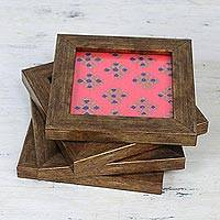 Wood and glass coasters, 'Floral Relaxation in Carnation' (set of 4) - Four Handcrafted Glass Coasters in Carnation from India