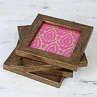 Wood and glass coasters, 'Golden Fuchsia' (set of 4) - Four Handcrafted Glass Coasters in Fuchsia from India