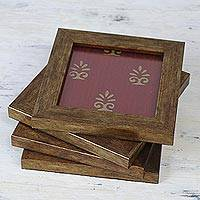 Wood and glass coasters, 'Nature's Beauty in Scarlet' (set of 4) - Four Handcrafted Glass Coasters in Scarlet from India