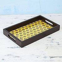 Glass and wood decorative tray, 'Floral Relaxation' - Handcrafted Glass Decorative Tray in Marigold from India