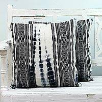 Cotton cushion covers, 'Stylish Combination' (pair) - Two Cotton Cushion Covers in Black and Ivory from India
